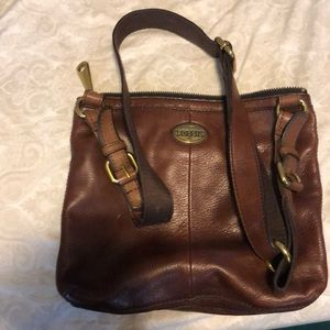 Brown Fossil Leather shoulder bag
